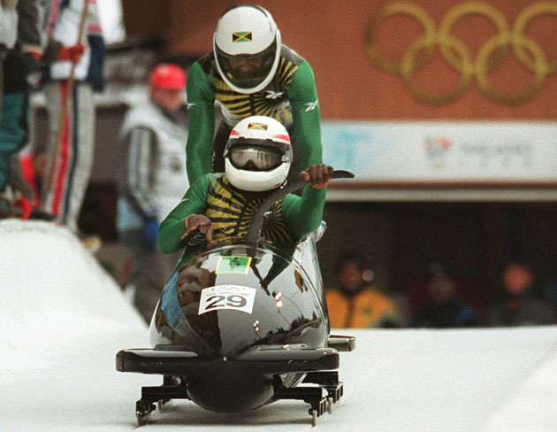 Devon Harris (front) and Michael Morgan at the 1998 Winter Games in Nagano.