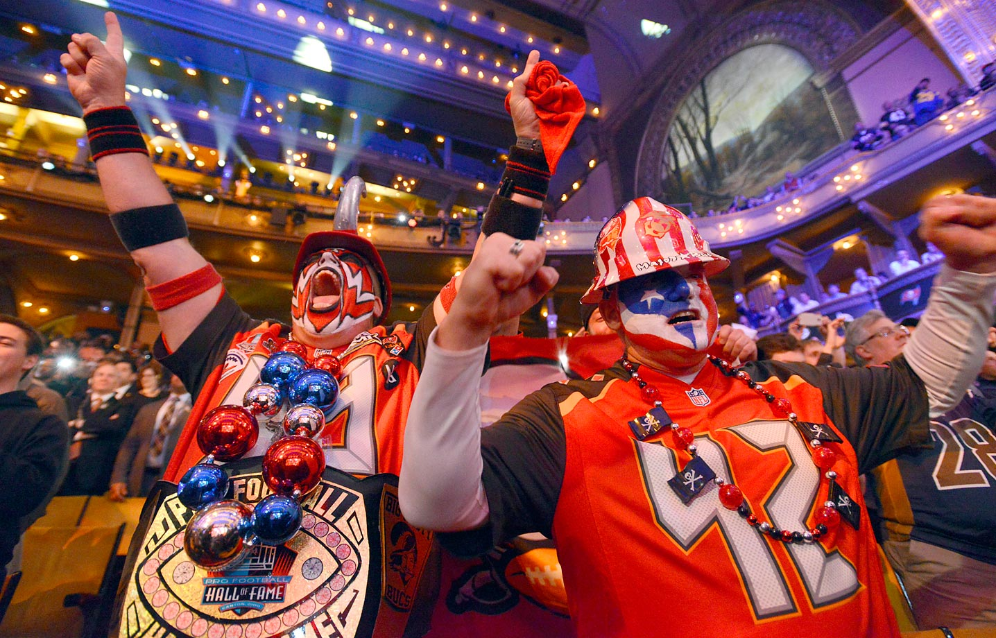 Buccaneers fans cheer after the team selected Florida State quarterback Jameis Winston as the first pick in the first round of the draft.