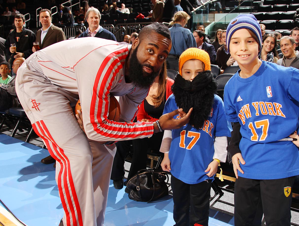 Here's a look at James Harden fans through the years.  This photo was taken on Dec. 17, 2012 in Madison Square Garden.
