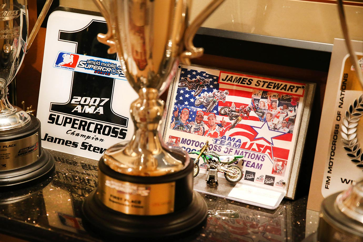 Some of the many Supercross trophies, awards, and racing memorabilia at James Stewart's home.