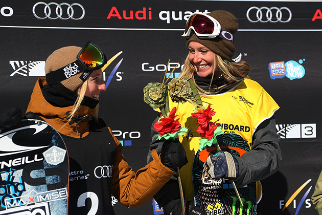 Laurie Blouin (left) with Jamie Anderson (right) after Anderson won first place in the slopestyle final at the Winter Games NZ.