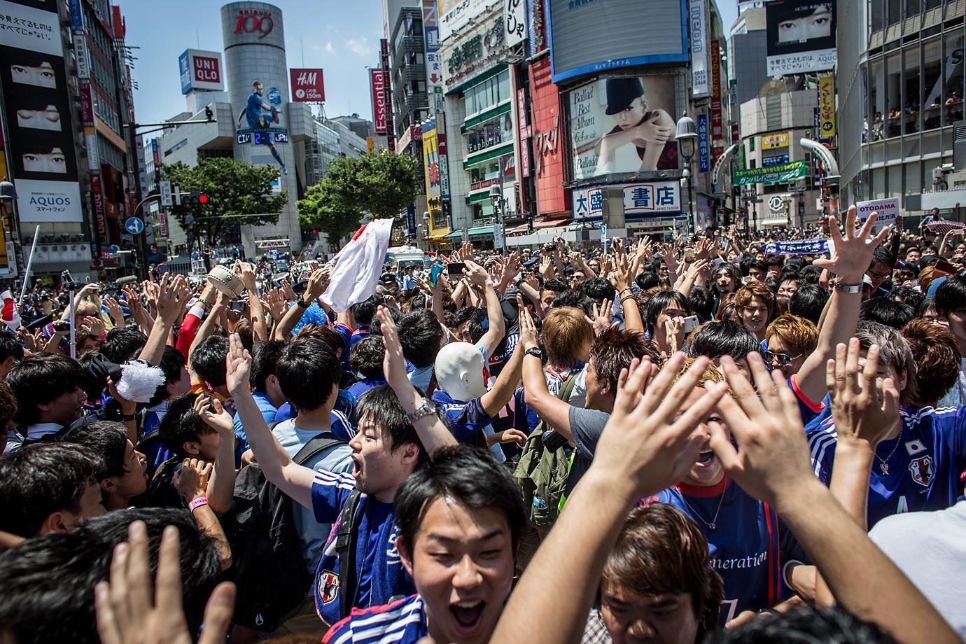 Japanese fans in Tokyo, Japan.