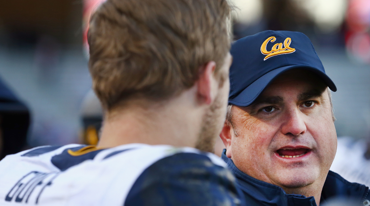 Jared Goff with Cal coach Sonny Dykes.