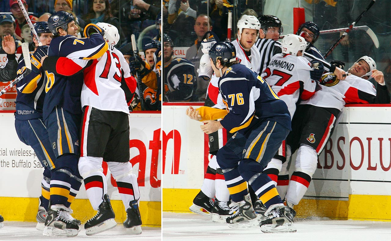 Another case of a facewash coming to no good end, Sabres enforcer Peters found himself turned into finger food during a Jan. 2009 game. Senator Ruutu received a two-game suspension for his gustatory exuberance.