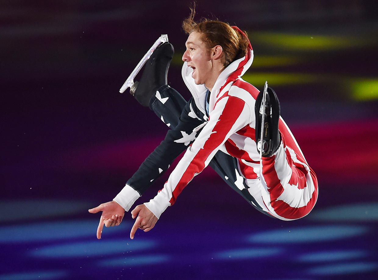 Jason Brown performs his routine in the exhibition on day four of the ISU World Team Trophy in Japan.