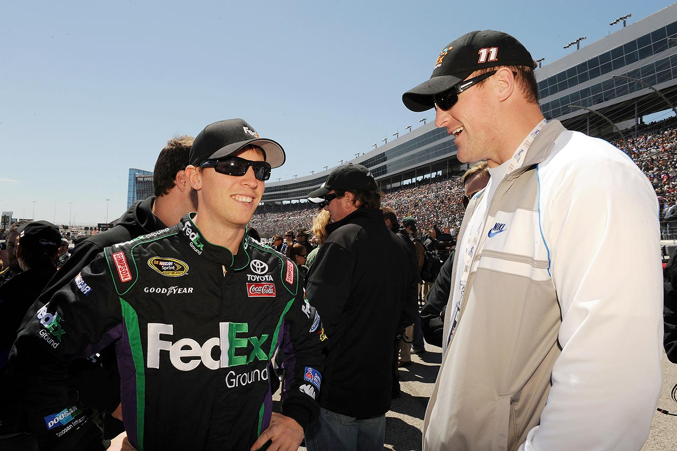 Witten with Denny Hamlin before a NASCAR race in Fort Worth.