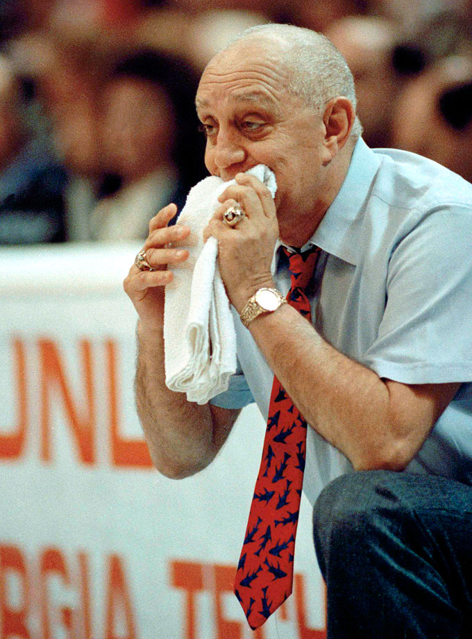 "Legendary basketball coach Jerry Tarkanian was known for his colorful behavior and affectionately referred to as ""Tark the Shark."" He led three schools — Long Beach State, UNLV, and Fresno State — to the NCAA Tournament, and made four Final Four appearances, winning the NCAA championship with the Runnin' Rebels in 1990."