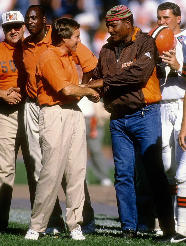 Belichick and Brown on the sideline before a game in Cleveland in 1994. (Photo: Focus on Sports/Getty Images)