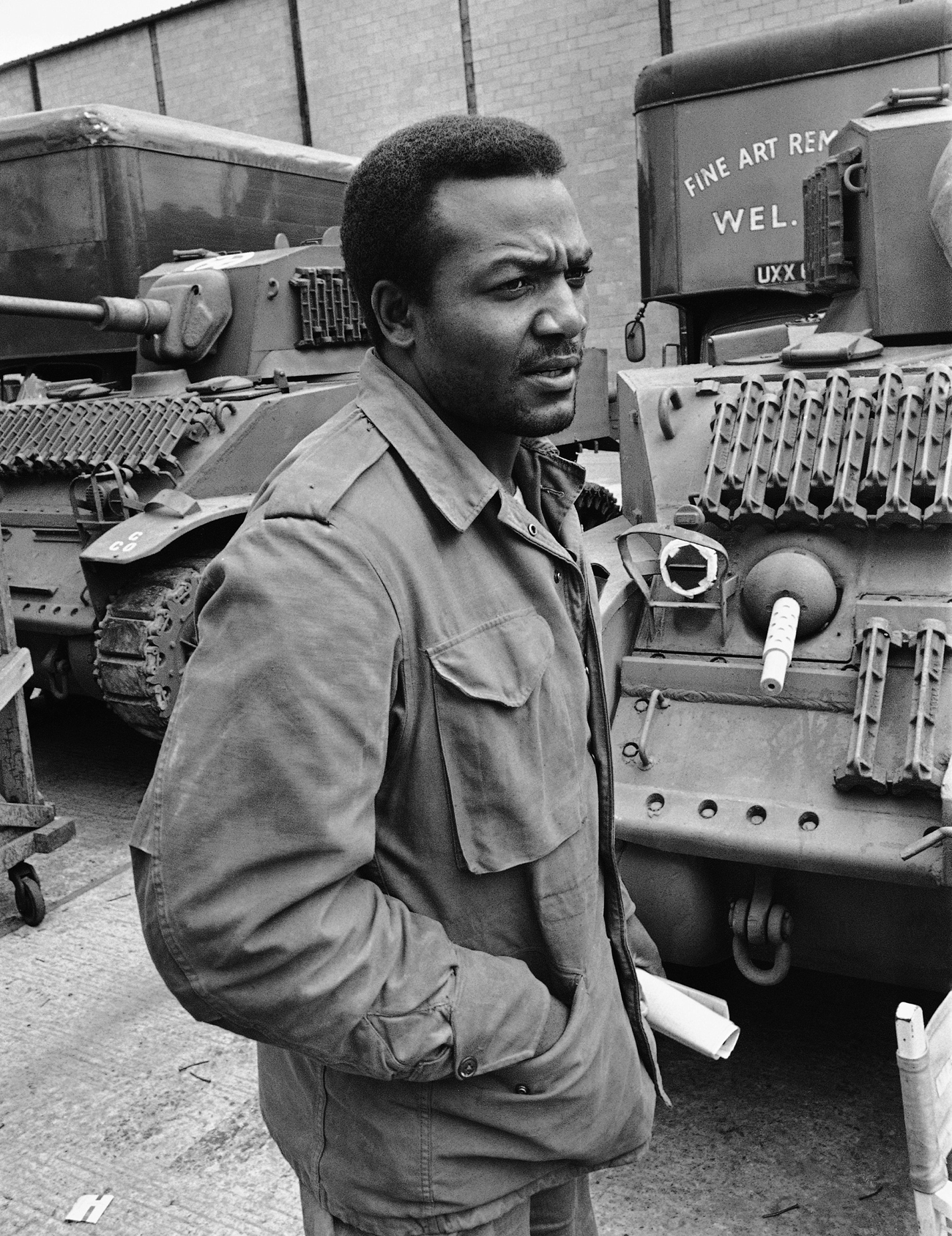 Jim Brown on the set of The Dirty Dozen, 1966.