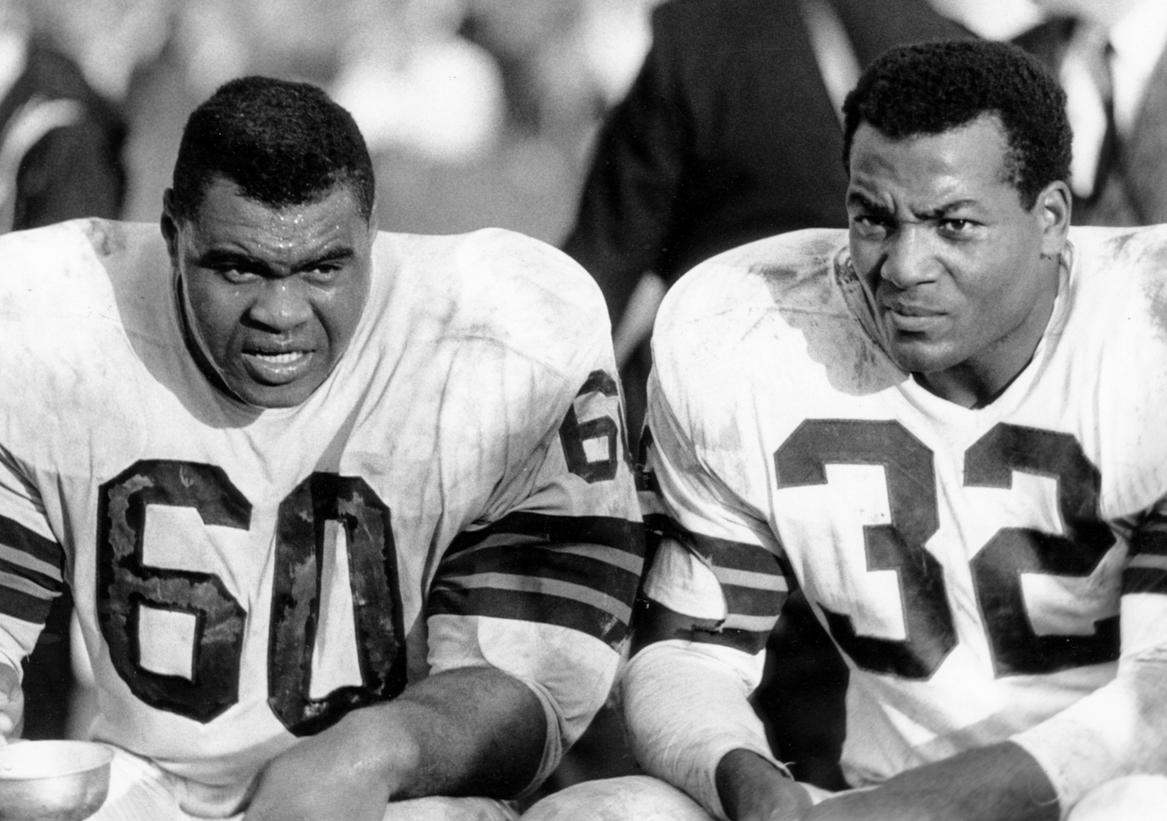 "Wooten (60, with Brown) says if Brown hadn't been taken out early in games in 1963 ""he would have rushed for 2,500 yards."" (Photo: Tony Tomsic/Getty Images)"