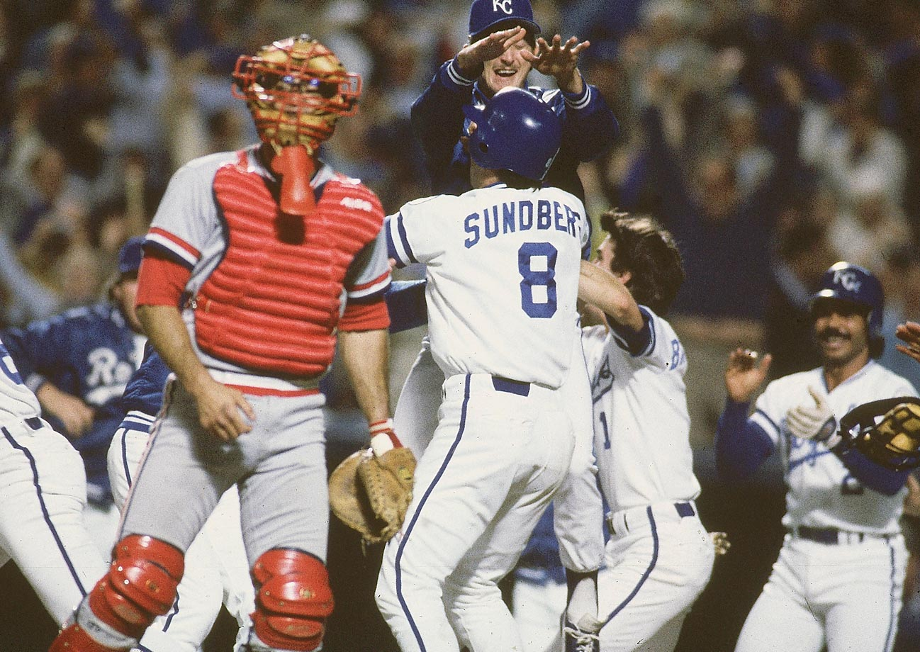 Jim Sundberg celebrates after scoring a run to win Game 6. The Royals scored two runs in the 9th to win 2-1 and tie the series.
