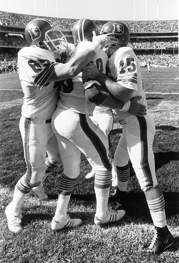In a 1977 matchup between the Raiders and the Broncos, Denver kicker Jim Turner gave his team a major spark with a second-quarter touchdown grab. After lining up for a field goal, holder Norris Weese caught the snap and rolled to the right. Unbeknownst to the defense was that Turner had wheeled to the left side of the field. Weese lofted the ball to Turner, who made a 25-yard grab and helped the Broncos win, 30-7.