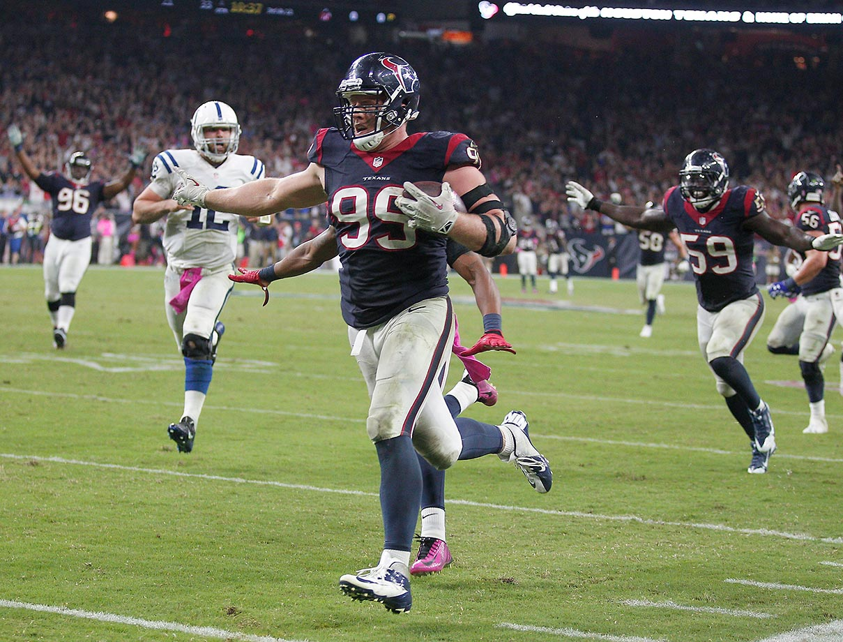 J.J. Watt had a lot of fun in 2014 as the Houston Texans let their defensive end play a little offense and watched him score three times. He also has scored on a safety, a fumble return for touchdown and a pick six.