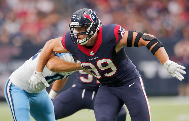 Houston Texans DE J.J. Watt headlines the defensive side of Andy Benoit's midseason All-Pro team.