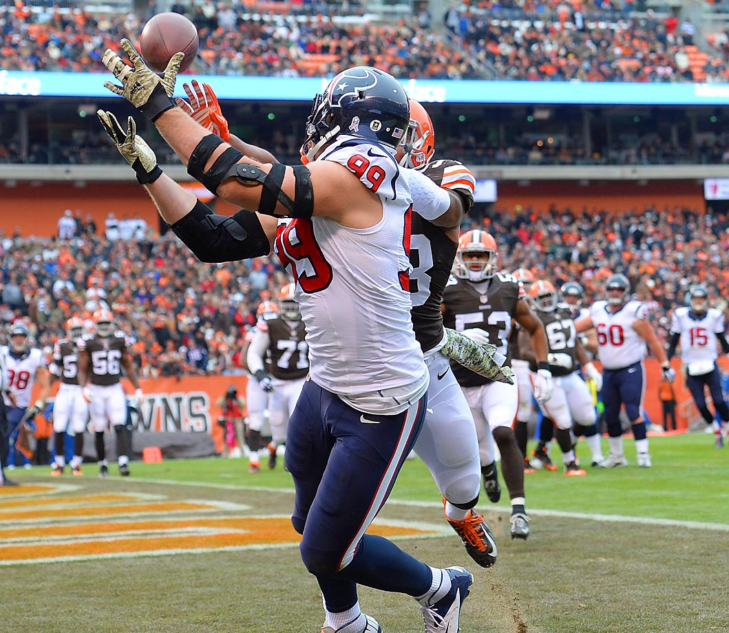 Houston Texans defensive end J.J. Watt makes a touchdown catch against the Cleveland Browns, his second offensive touchdown this season.