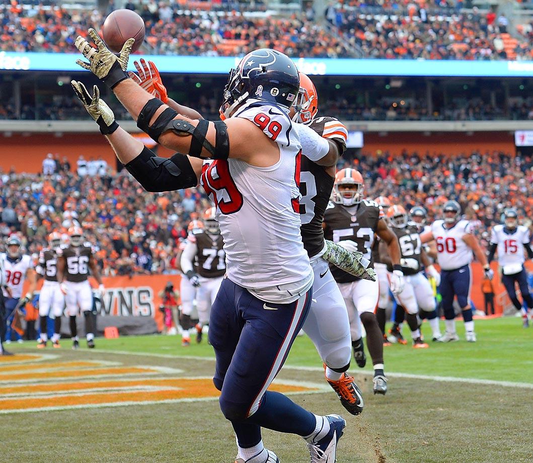 Houston Texans defensive end J.J. Watt makes a touchdown catch against the Cleveland Browns, his second offensive touchdown this season.