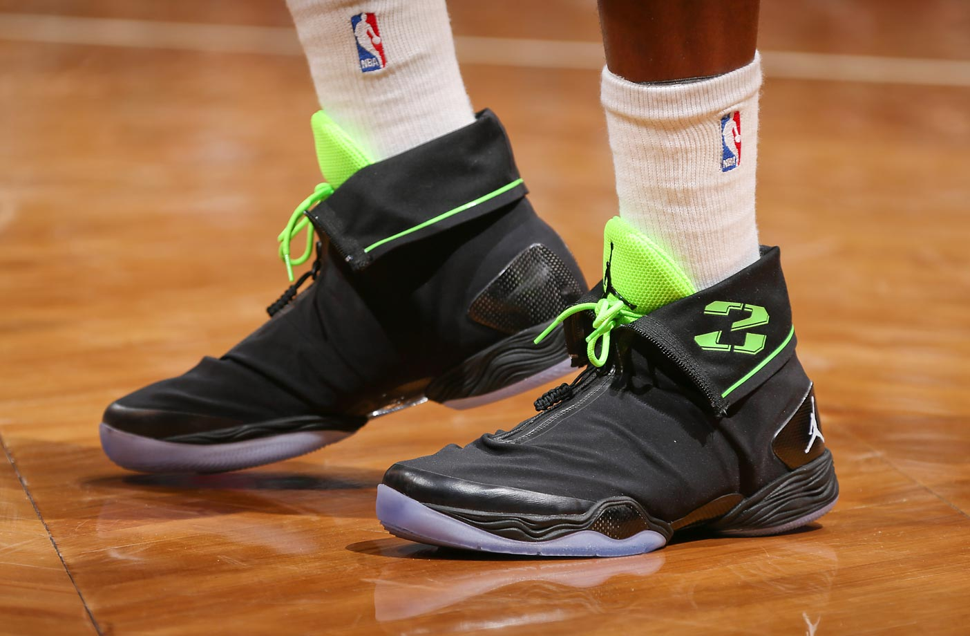 A detail of the Nike Air Jordan XX8 sneakers worn by Joe Johnson of the Brooklyn Nets during a game against the Atlanta Hawks on March 17, 2013.