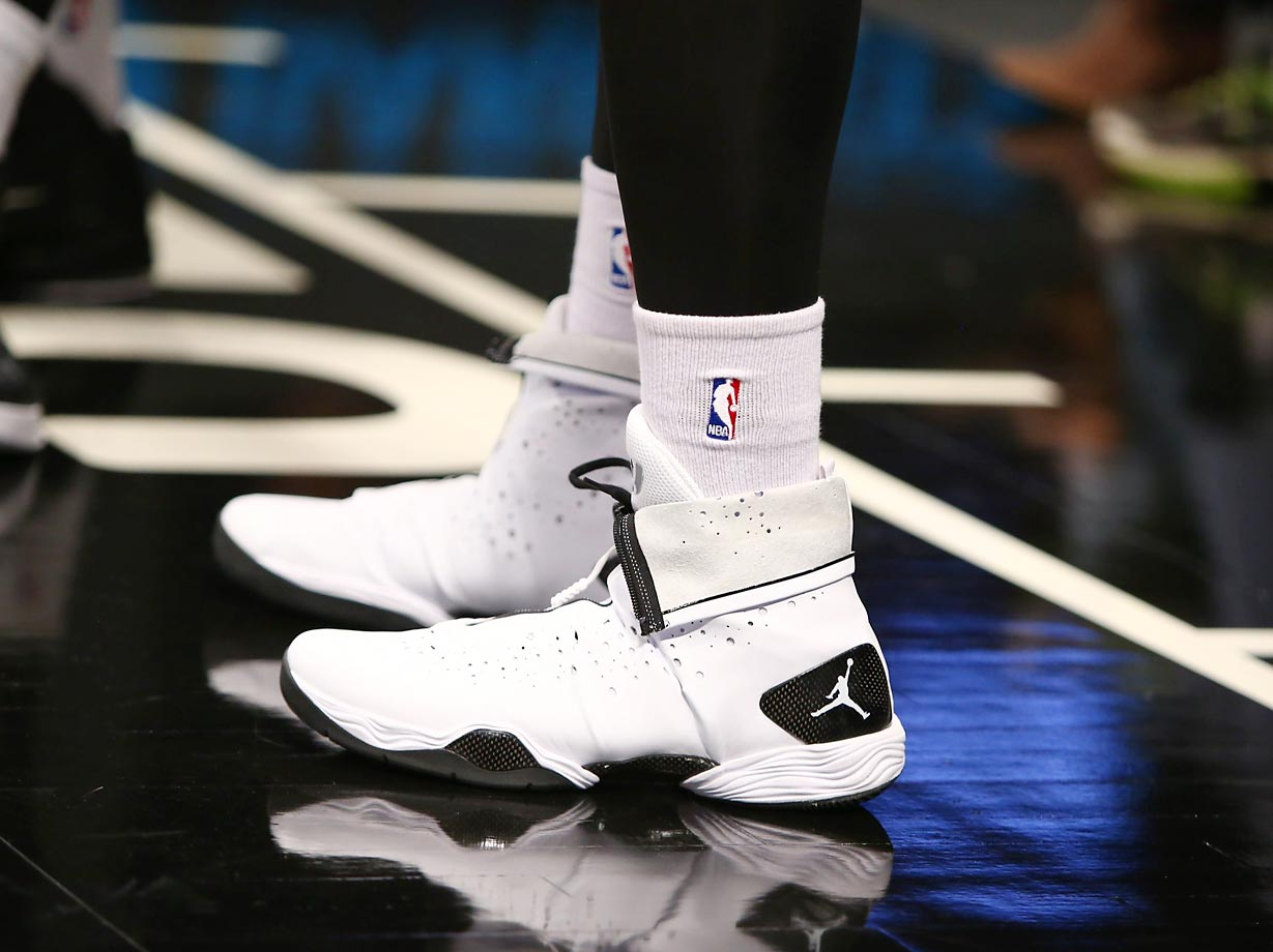 The sneakers of Joe Johnson during Open Practice on October 26, 2014 at Barclays Center in Brooklyn.