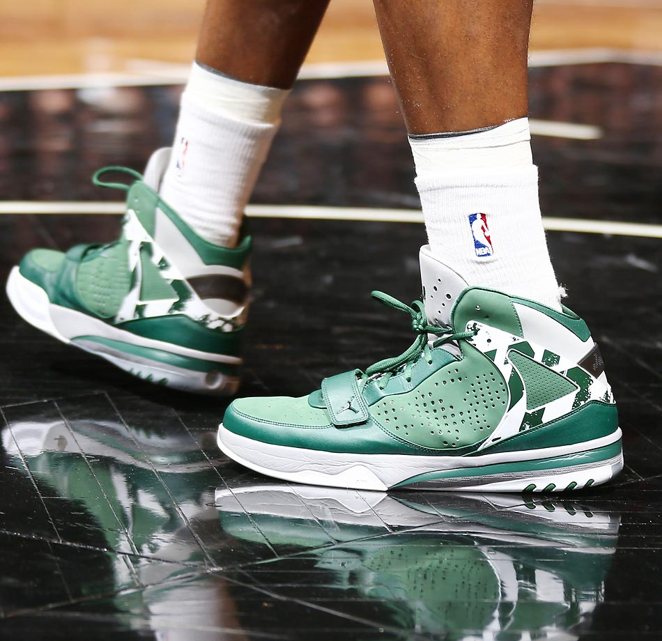 Joe Johnson of the Brooklyn Nets sneakers during a game at Barclays Center in Brooklyn.