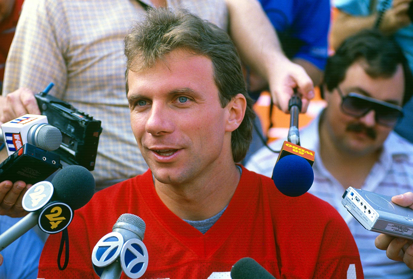 "To 49ers quarterback Joe Montana: ""So why do they call you Boomer?"" [a question better suited for Bengals QB Boomer Esiason]"