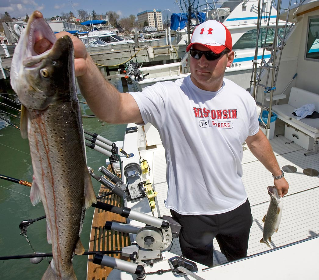 Cleveland Browns first found draft pick Joe Thomas hands over a fish that was caught on a fishing charter in 2007. Thomas spent day fishing with his dad instead of attending the football draft in New York, and was selected third overall by the Browns.