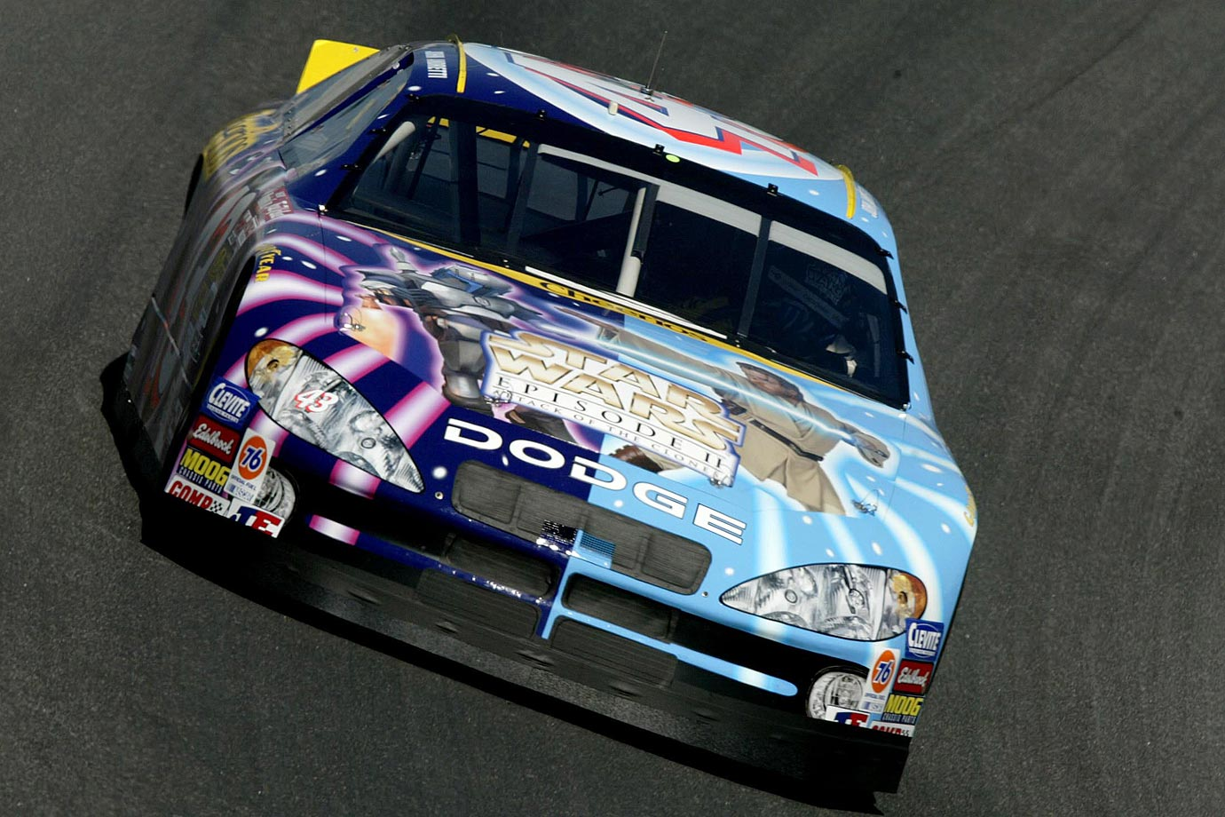 John Andretti drives the Cheerios/Star Wars Dodge Intrepid R/T during practice for the Coca-Cola 600 on May 23, 2002 at Lowe's Motor Speedway in Concord, N.C.