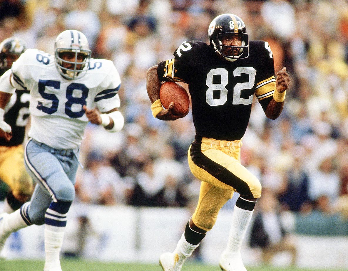 Pittsburgh Steelers wideout John Stallworth eludes Dallas defenders during Super Bowl XIII in 1979.