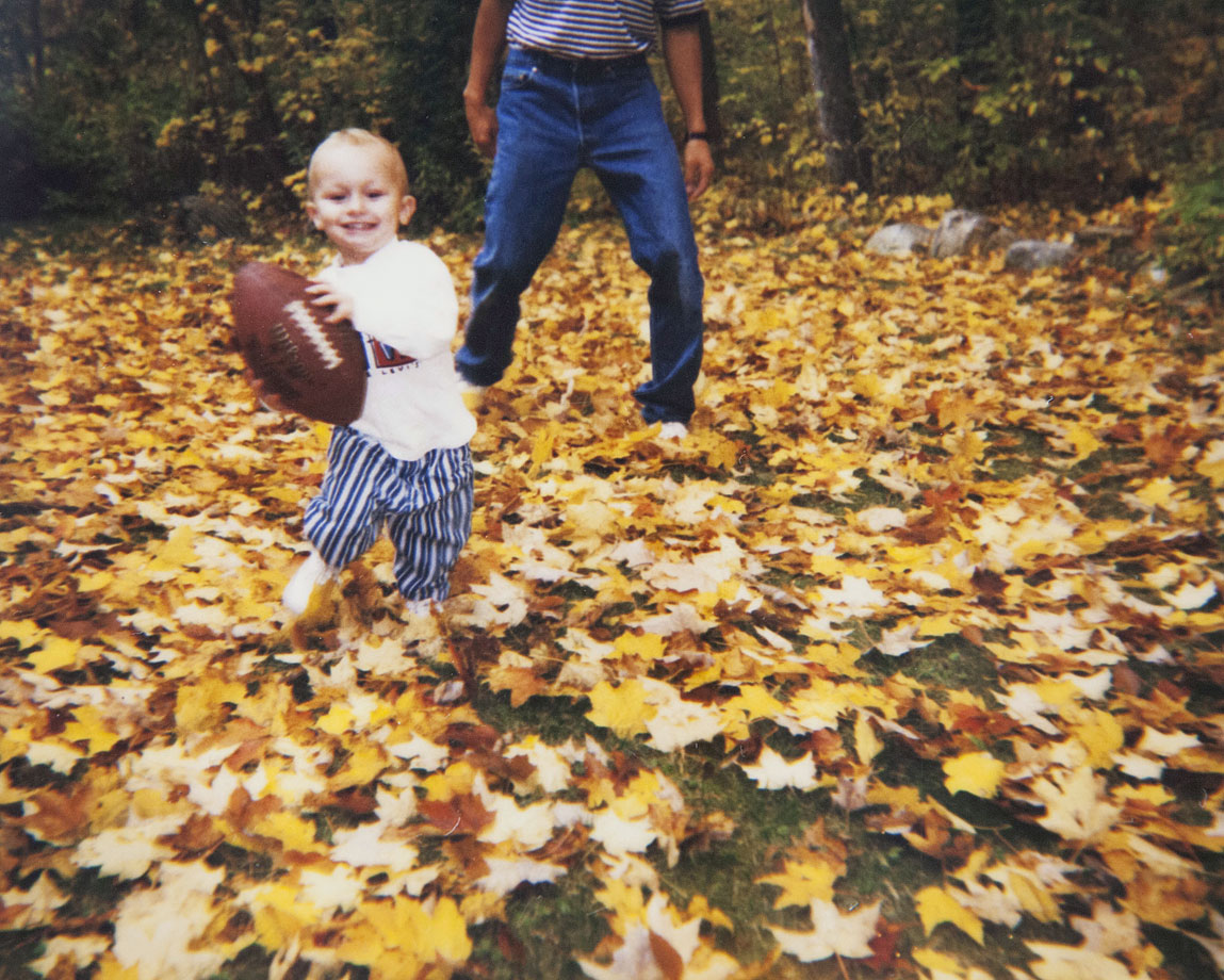 A 1 1/2-year-old Johnny Manziel looks poised to play football.