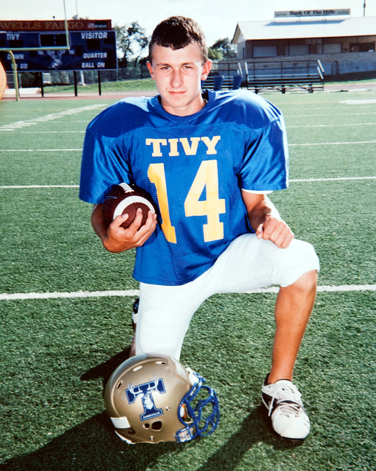 Johnny Manziel poses in pads while playing for Kerrville Tivy High in Kerrville, Texas.