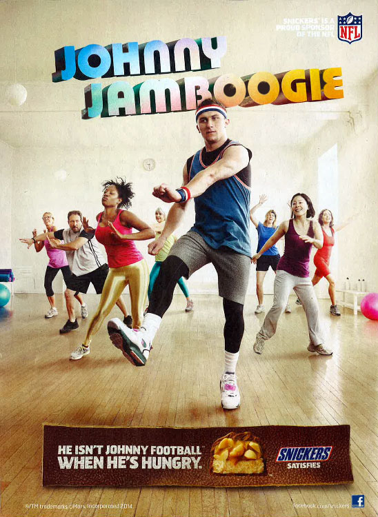 "Johnny Manziel's hunger leads him to teaching a Jane Fonda-style aerobics class as ""Johnny JamBoogie"" in a Snickers commercial, which first aired in late Aug. 2014.  Manziel may not have even be a starter yet, but his work here definitely showed he might be coming for Peyton Manning's crown as the NFL's finest pitchman."