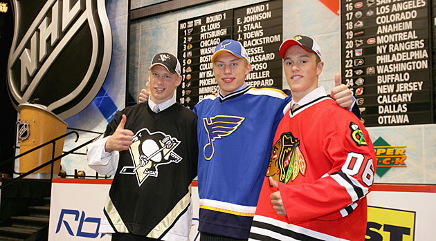 Toews was picked third in the 2006 NHL draft after Erik Johnson (center, No. 1) and Jordan Staal (left).