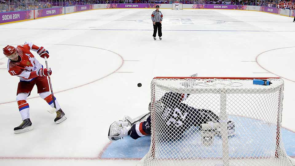 This was exactly why Dan Bylsma placed his faith in Quick. In Team USA's riveting round-robin game against Russia, the 2012 Conn Smythe Trophy winner allowed just two power play goals in regulation—and denied them a third with a clever bit of post rezoning (knocking the net off its moorings as a shot before a shot by Fedor Tyutin beat him). After a scoreless OT, Quick shut the door when he had to in the shootout, making four stops, the final two against the dangerous Ilya Kovalchuk and Pavel Datsyuk. Quick was agile, acrobatic and patient, showing space and then taking it away to seal Team USA's 3-2 win.