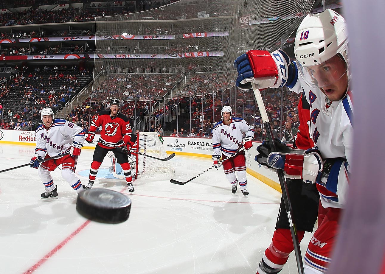 J.T. Miller of the New York Rangers keeps his eyes on the puck during the game against the New Jersey Devils. The Devils shut out the Rangers 3-0.