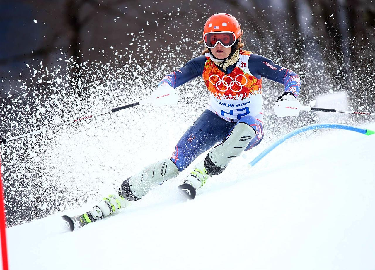 Julia Mancuso of the United States wins the bronze in the Super Combined Slalom.