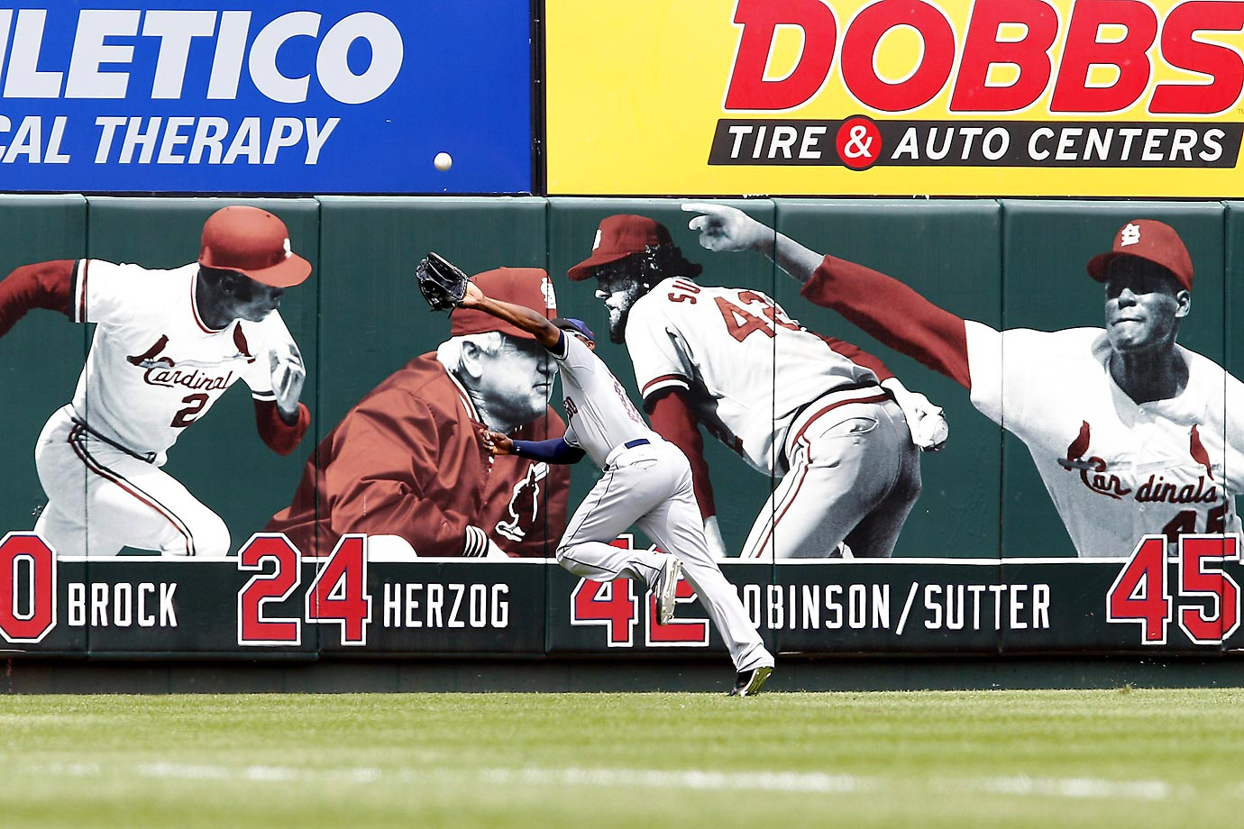 Justin Upton of the San Diego Padres makes a catch during a game against the St. Louis Cardinals.