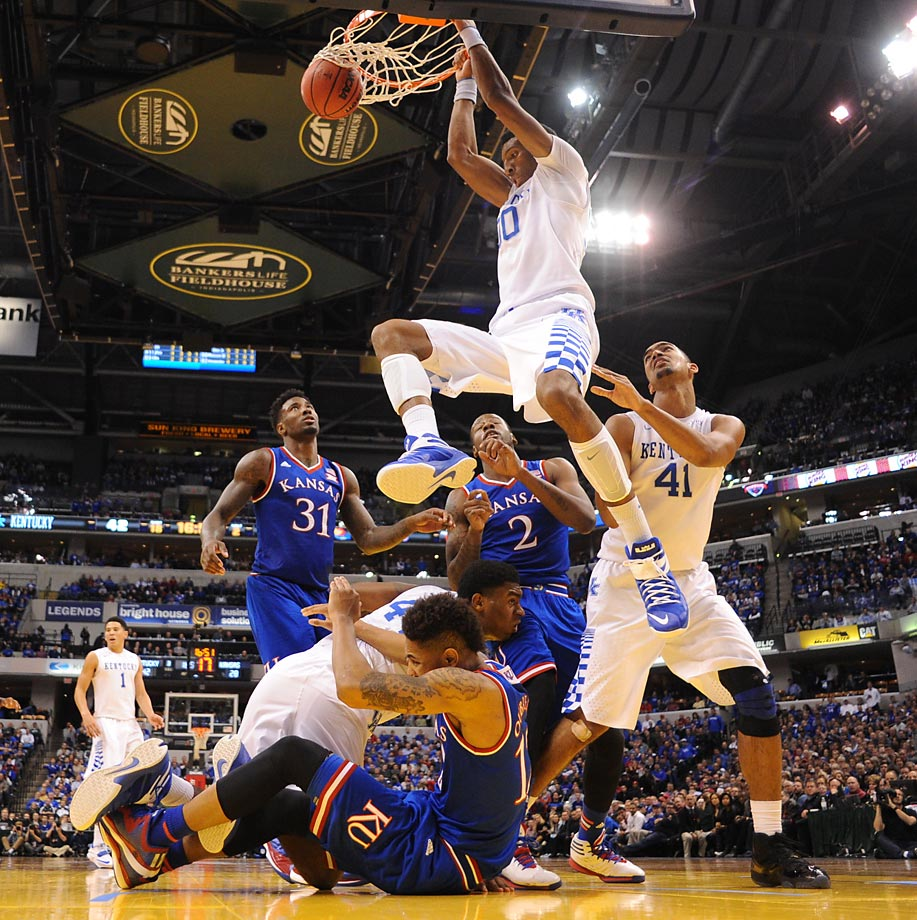 Kentucky's Marcus Lee dunks against Kansas.