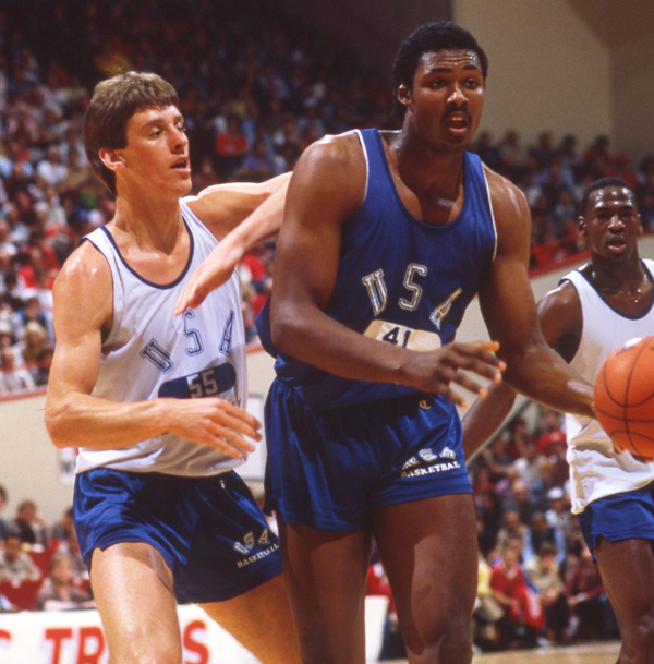 Malone battles Colorado's Jay Humphries during a 1984 Team USA scrimmage at Assembly Hall. (Rich Clarkson/SI)