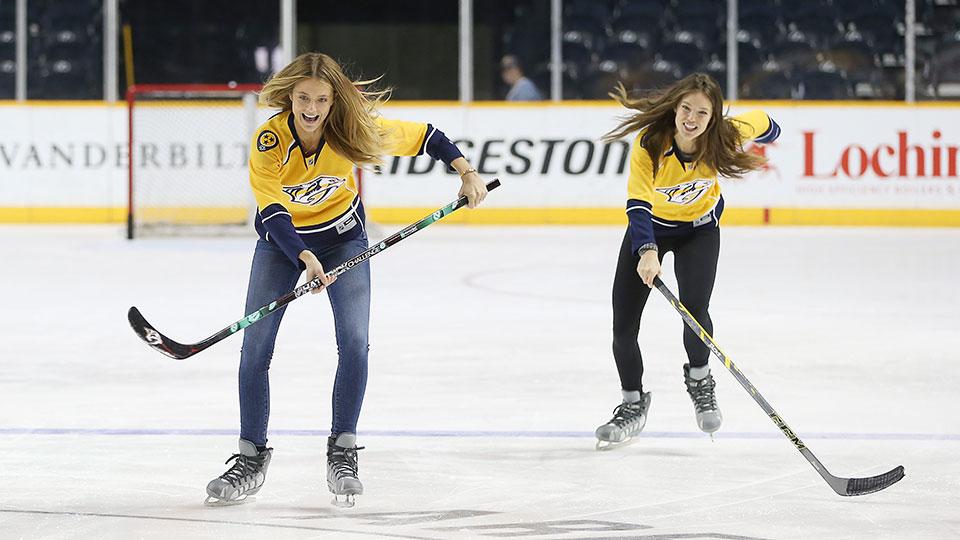 Kate Bock and Emily DiDonato hit the ice with Roman Josi, Filip Forsberg and Seth Jones of the Nashville Predators