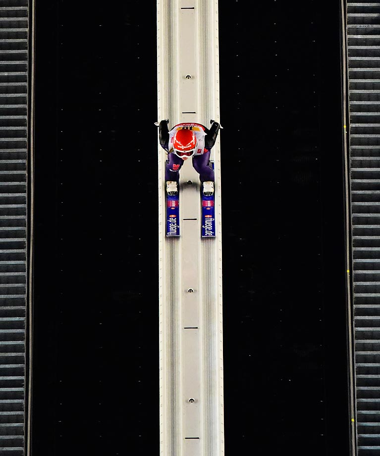 Katharina Althaus of Germany competes during the Mixed Team HS100 Normal Hill Ski Jumping during the FIS Nordic World Ski Championships at the Lugnet venue in Falun, Sweden.