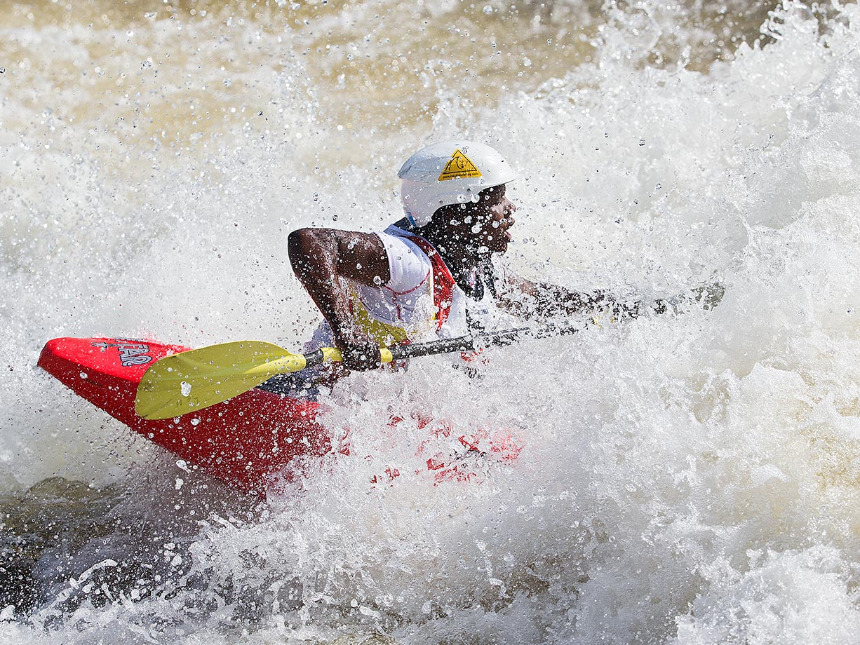 The Championship played home to 29 countries, including Uganda, which had its Visas denied multiple times but was able to arrive in time.  Here, Amina Tayona, the only woman on the Uganda team, competes in the K1.