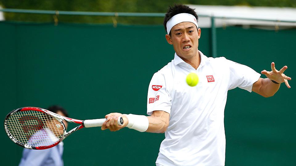 Kei Nishikori defeated Simone Bolelli to reach the fourth round at Wimbledon for the first time.