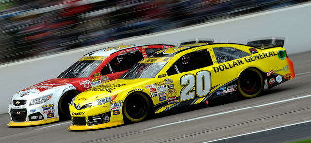 Edge of suspense: Kenseth may have to contend with an angry Kevin Harvick (left).