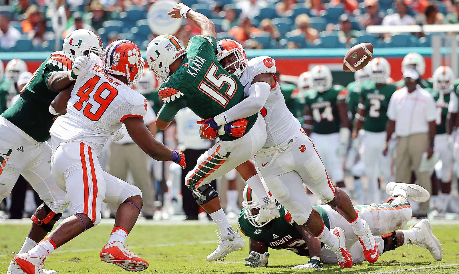 Clemson 58, Miami 0: The Tigers pummeled the Hurricanes so badly, Miami opted to fire coach Al Golden after the game. Clemson ran for 416 yards and held Miami to 146 yards of offense.