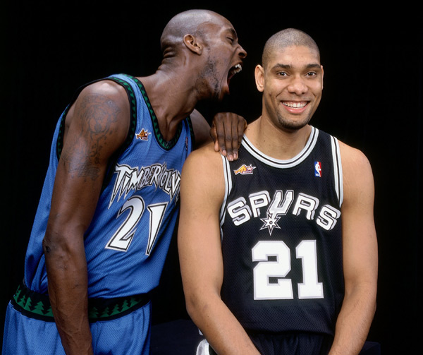 Kevin Garnett and Tim Duncan (2000) :: Getty Images