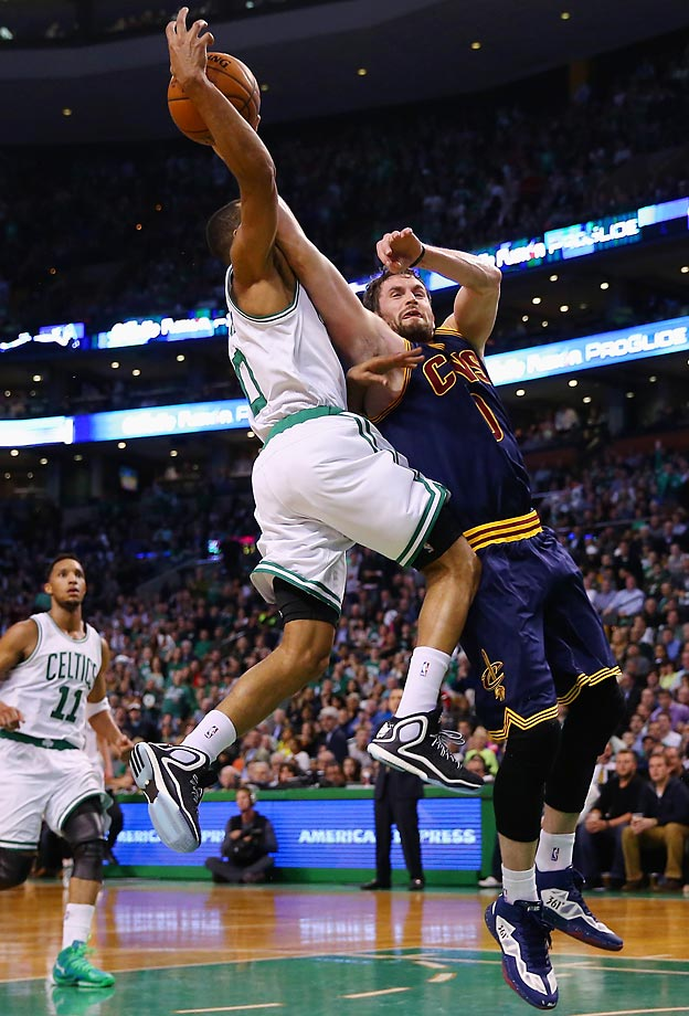 Cavaliers' Kevin Love and Celtics' Avery Bradley.