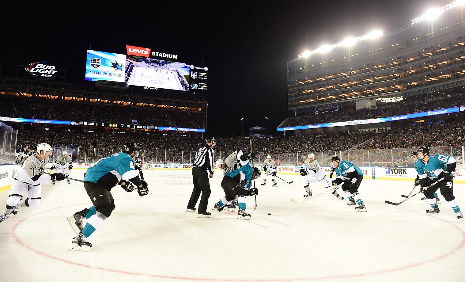 The Los Angeles Kings and San Jose Sharks face off against each other outdoors at Levi's Stadium in Santa Clara, Calif.
