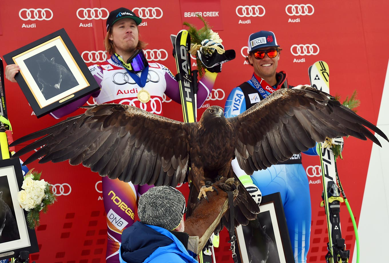 Not seemingly very surprised by a golden eagle, Kjetil Jansrud and Steven Nyman celebrate their victories in the 2014 Audi FIS Alpine Ski World Cup Men's Downhill in Beaver Creek, Colo.