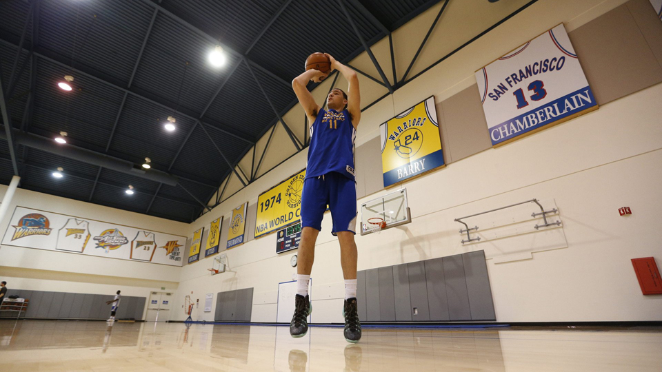 The Golden State Warriors' sharpshooter, Klay Thompson, has picture-perfect shooting form, and trails only teammate Steph Curry for most threes in the NBA.