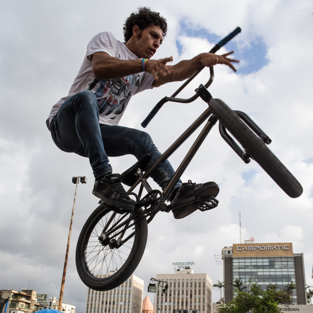BMX freestyler Bassel Swayden grabs air during Urban Culture in Beirut, Lebanon on Saturday, June 7, 2014.