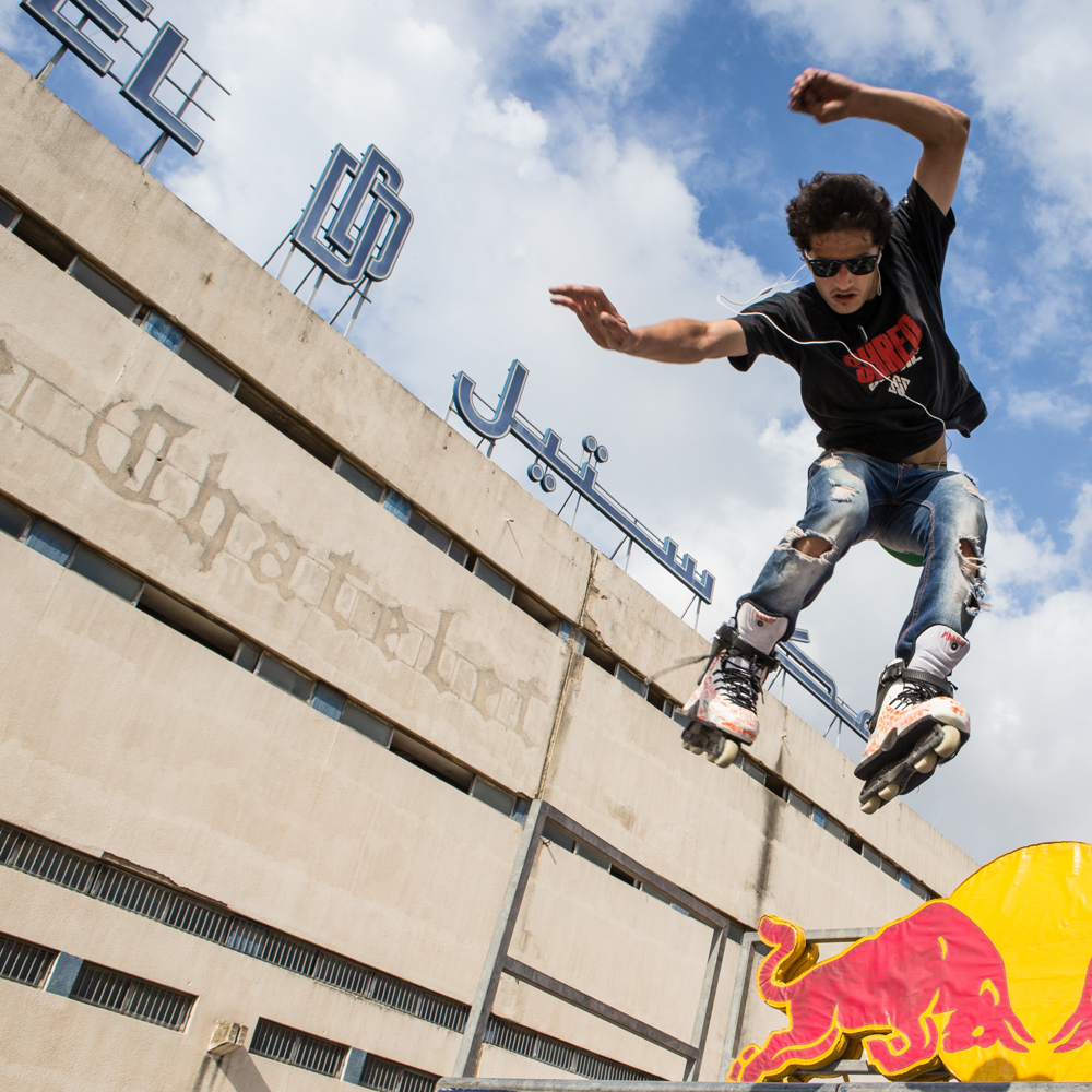 Mohammad Shames, one of Lebanon's Top inline skaters, performs at Urban Culture in Beirut, Lebanon on Saturday, June 7, 2014.